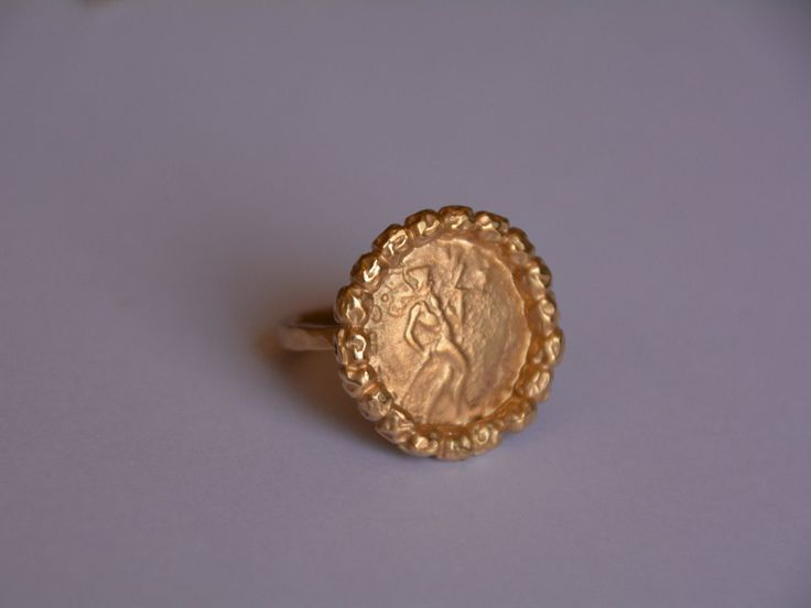Gold ring, Antique coin Ring, handmade, gift for women, holiday gift, statement ring, old coin, gold coin, delicate jewelry, efrat makov by EfratMakovJewelry on Etsy