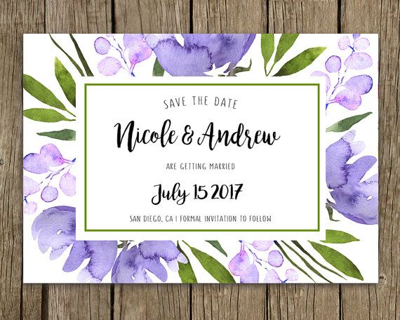 Wedding announcement, Custom template, Personalized, SAVE THE DATE, Watercolor floral boho, Violet and green, Wild flowers, Wedding card