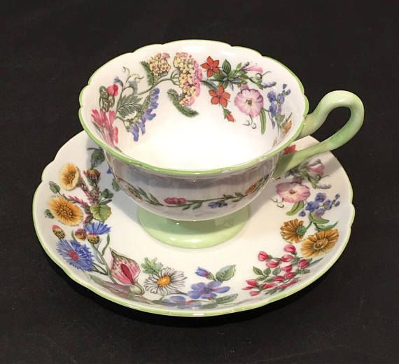 This is a vintage Shelley lighter green floral tea cup and saucer. It is handpainted! Fine bone china. Product of England. Hedgerow. 13492. Great for collectors, display, gift, kitchen décor, drinking, for her, and etc. In excellent condition no chips, cracks, dirty stains,