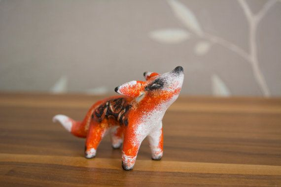 Sculpture miniature totem fantasy Fox by by WingedHedgehogDream