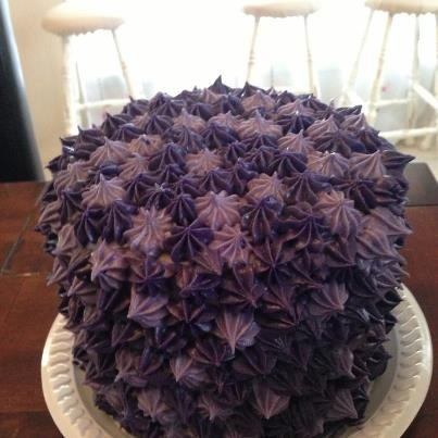Purple birthday cake.