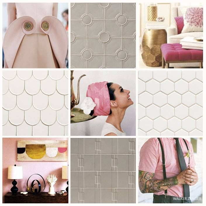 """The elegant sophistication of our Robert A.M. Stern collection lends itself perfectly to our October """"Think Pink"""" Mosaic Monday tribute to #BreastCancerAwarness.  Taking our cue from the iconic Audrey Hepburn and sleek contemporary interiors we have paired this month's color with tiles highlighting the classic elements of architectural design. To view more of this collection and it's inspirations click here."""