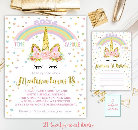 Unicorn Time Capsule Sign Time Capsule Sign First Birthday