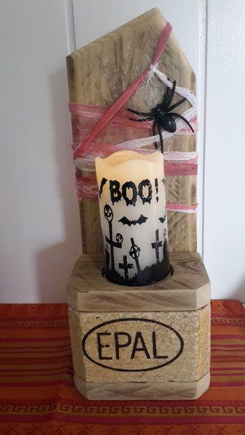 Halloween, Deko, Geister, Kreuze, Friedhof, Party, Mitbringsel, Kerzenhalter, Kerzenständer, Holzarbeit, DIY, Geschenk, Buhu, Palettenmöbel, Regal, Kerze, Überraschung, erschrecken, unheimlich,  Fete