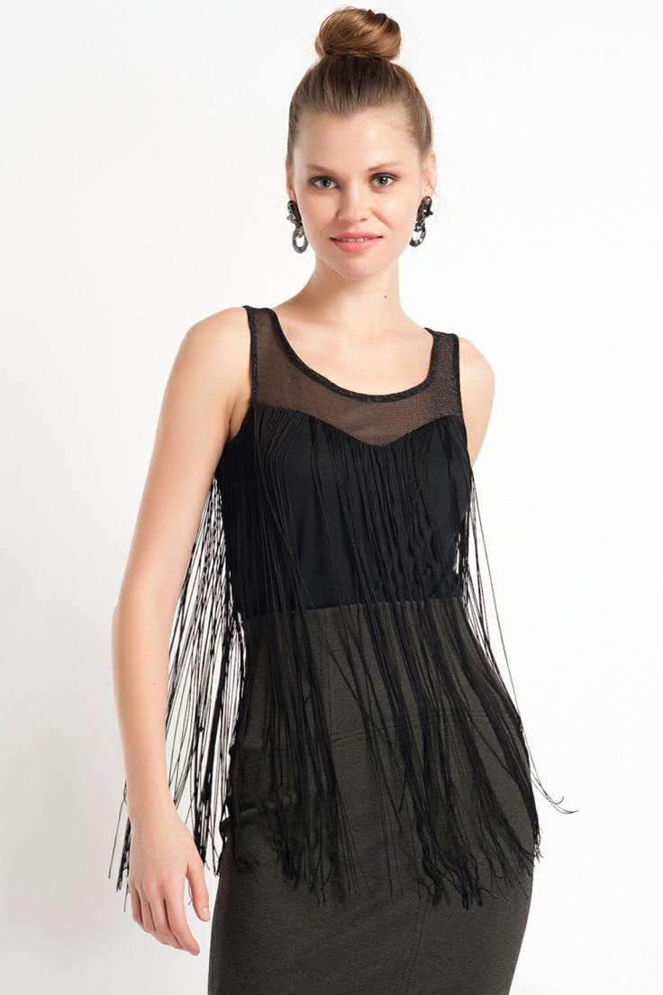 Vero Moda Frilla Saçaklı Bluz Siyah, Üst Giyim Modelleri