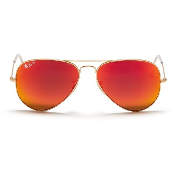 Ray-Ban 'Aviator Large Metal' mirror sunglasses (£205) ❤ liked on Polyvore featuring accessories, eyewear, sunglasses, glasses, orange, matte lens sunglasses, mirrored aviator sunglasses, mirror lens aviators, metal sunglasses and mirror aviator sunglasses