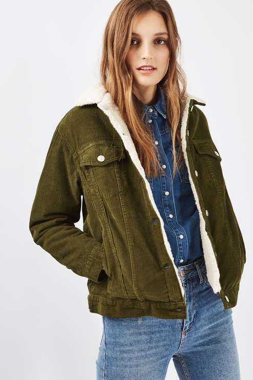 We love the cool khaki hue of this MOTO cord oversized western jacket. Comes with a soft borg collar, button front and handy chest pockets. #Topshop