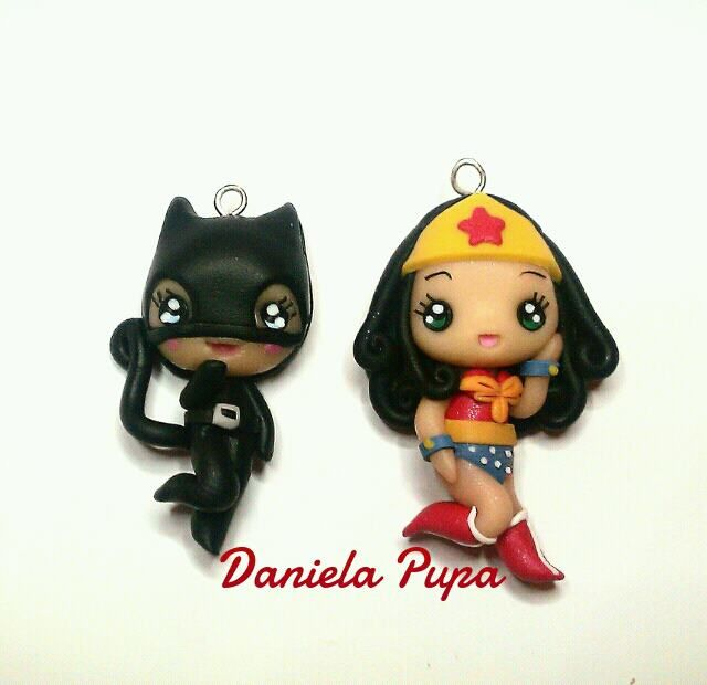 so cute!!! kawaii polymer clay Catwoman and Wonder Woman!!!