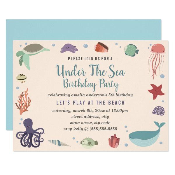 Sweet Under The Sea Kids Birthday Invitation Customizable Gifts #beach #summer #party #invitation