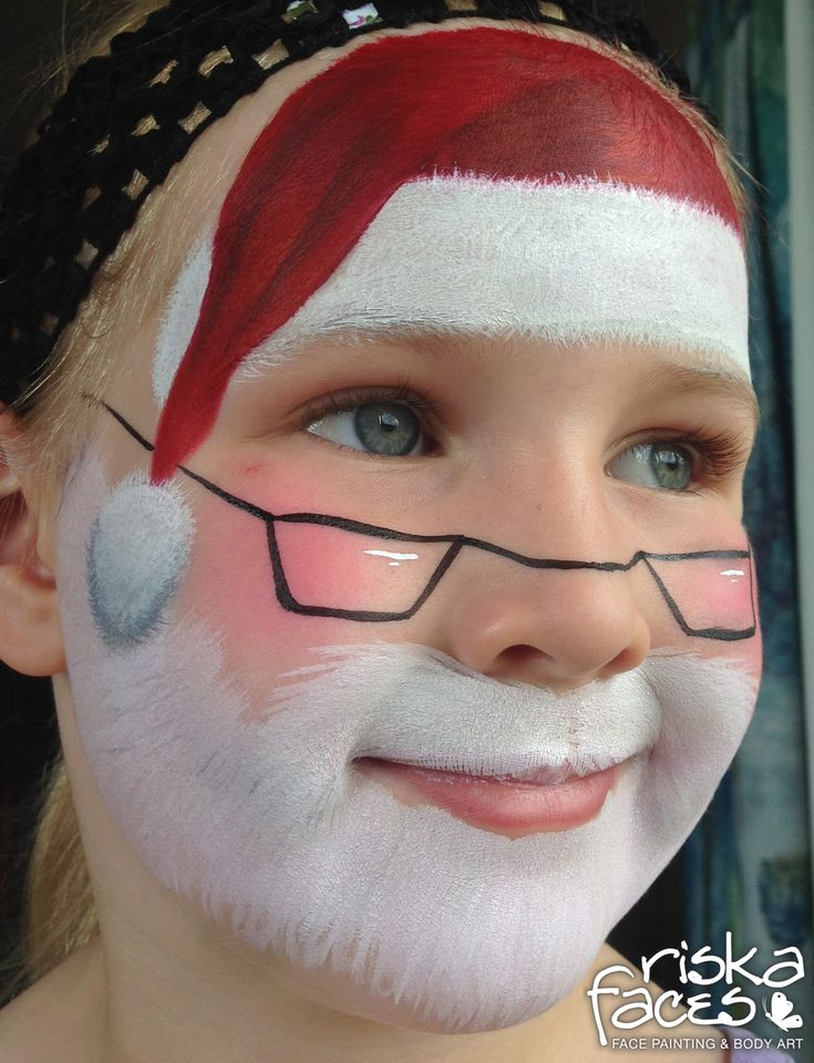 Super cute Santa face painting. Painted by Riska Faces NZ