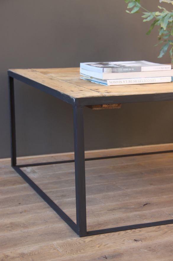 Table Basse Facto #15: Table Basse Metal Et Bois - Petite Belette