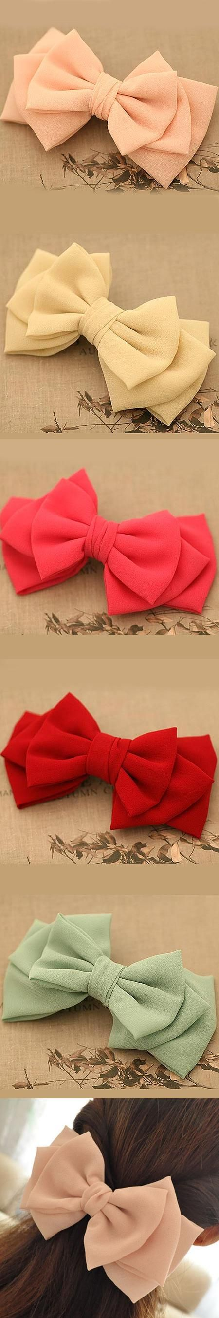 5.1in Large Hair Bows For Girls Solid Color Chiffon Three Layers Irregular Bow Hair Clips Barrettes Hair Accessories For Women