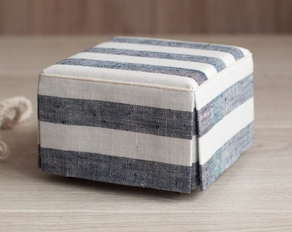 1/4 scale Doll Square Ottoman Seat with Striped Linen Upholstery, Cottage Chic, Navy blue and White striped fabric pattern