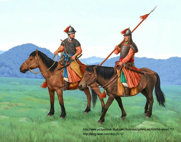 Joseon Dynasty horse archer and lancer with mail or lamellar armour.