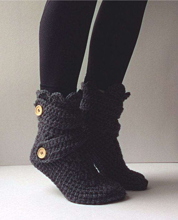 Women's Crochet Dark Gray Slipper Boots Crochet by StardustStyle (Light or Dark Gray, Mint, or Dark Purple)