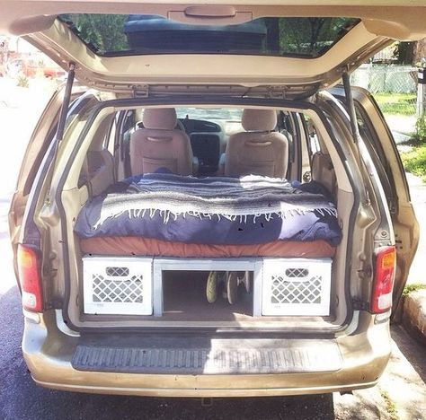 HOW TO CONVERT A MINIVAN TO A CAMPER We converted our 2001 Ford Windstar minivan to a comfortable camper with plenty of storage for traveling. We used milk crates with home made plywood lids to create...