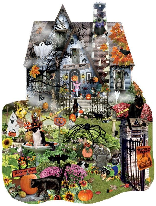 Sunsout's Spooky House , a 1000 piece Shaped jigsaw puzzle, by Lori Schory; beware, all bets are off on if they've got Tricks or Treats at this haunted house!