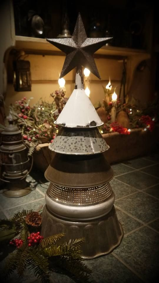 Repurposed Funnel & Colander Christmas Tree