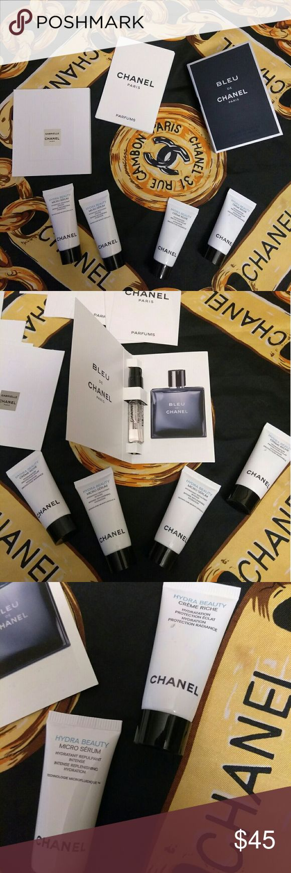 Lot of Chanel Bleu and cream and mico serum I Bleu de Chanel 0.06fl oz  2 cream Richie 0.17fl oz 2 micro serum 0.17fl oz  9 gabrielle Chanel perfume cards  11 Chanel Paris perfume cards CHANEL Other