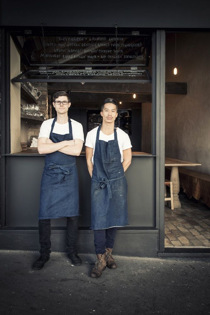 these two restaurant owners are looking way too hipster cool, in a good way (farmhouse restaurant in sydney)