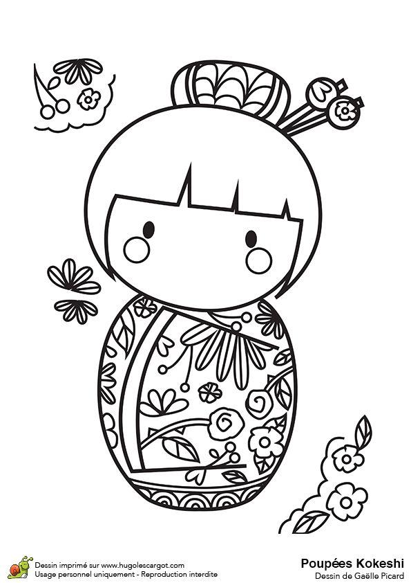 Dessin à colorier Poupée Kokeshi et roses rouges - Hugolescargot.com