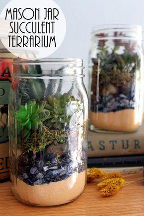 Terrarium In A Mason Jar Gift Idea Succulent Terrarium Pinterest