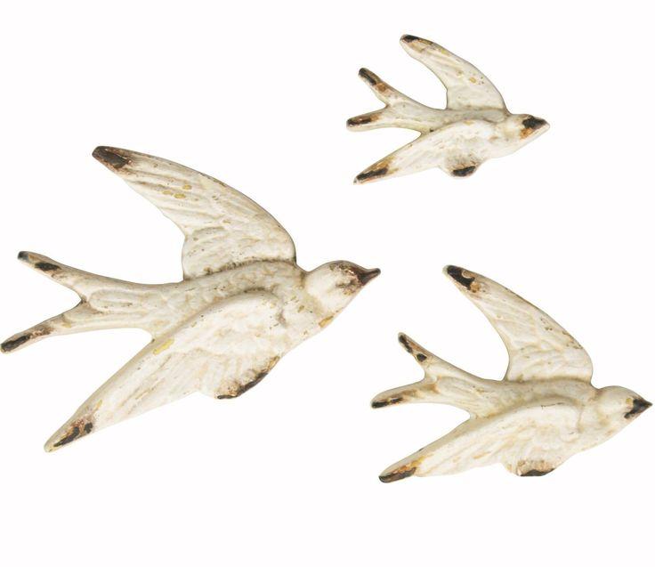 Set of 3 Flying Swallows Birds Cream & Gold Retro Vintage Wall Sass & Belle | eBay