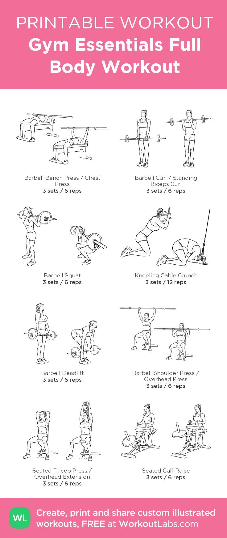 Gym Essentials Full Body Workout: my visual workout created at WorkoutLabs.com …