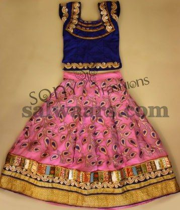 Peach Color Silk Kids Lehenga - Indian Dresses