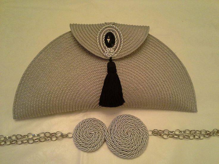 bolso y cinturon hecho con mantel de rafia