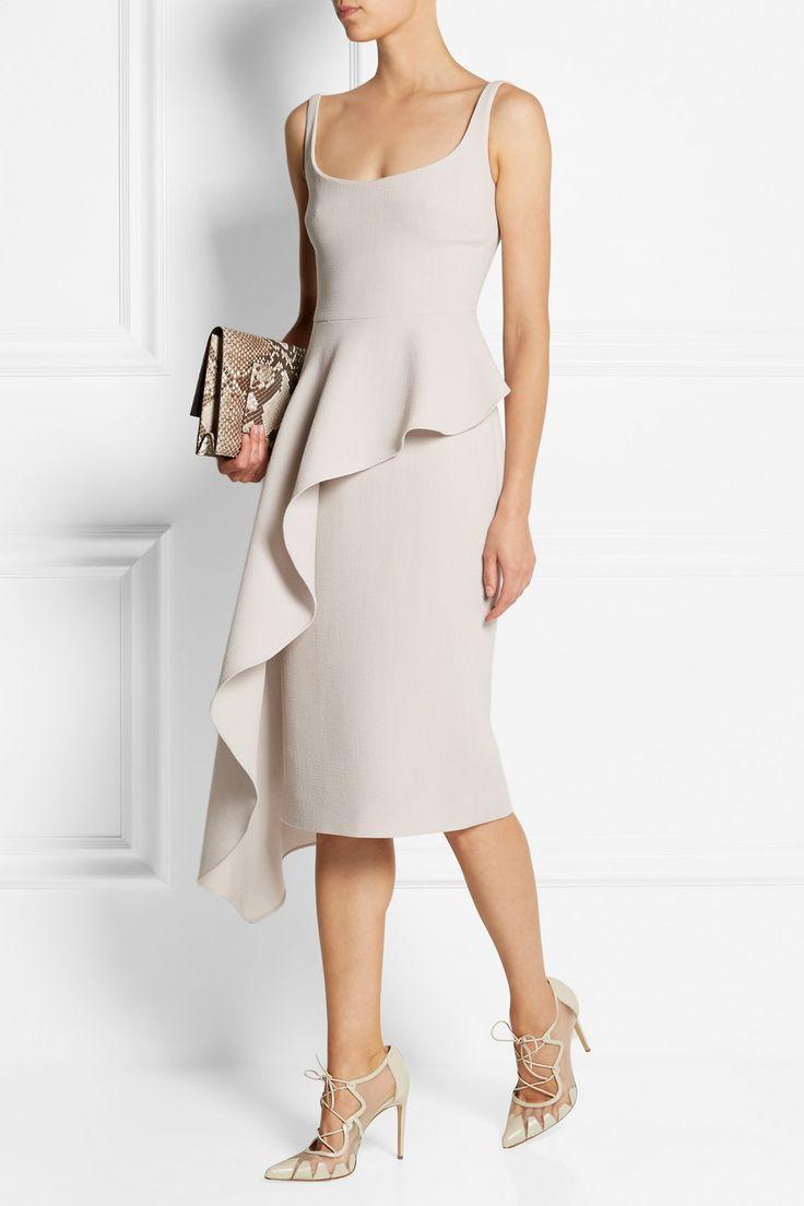Cushnie et Ochs|Asymmetric draped wool-crepe dress