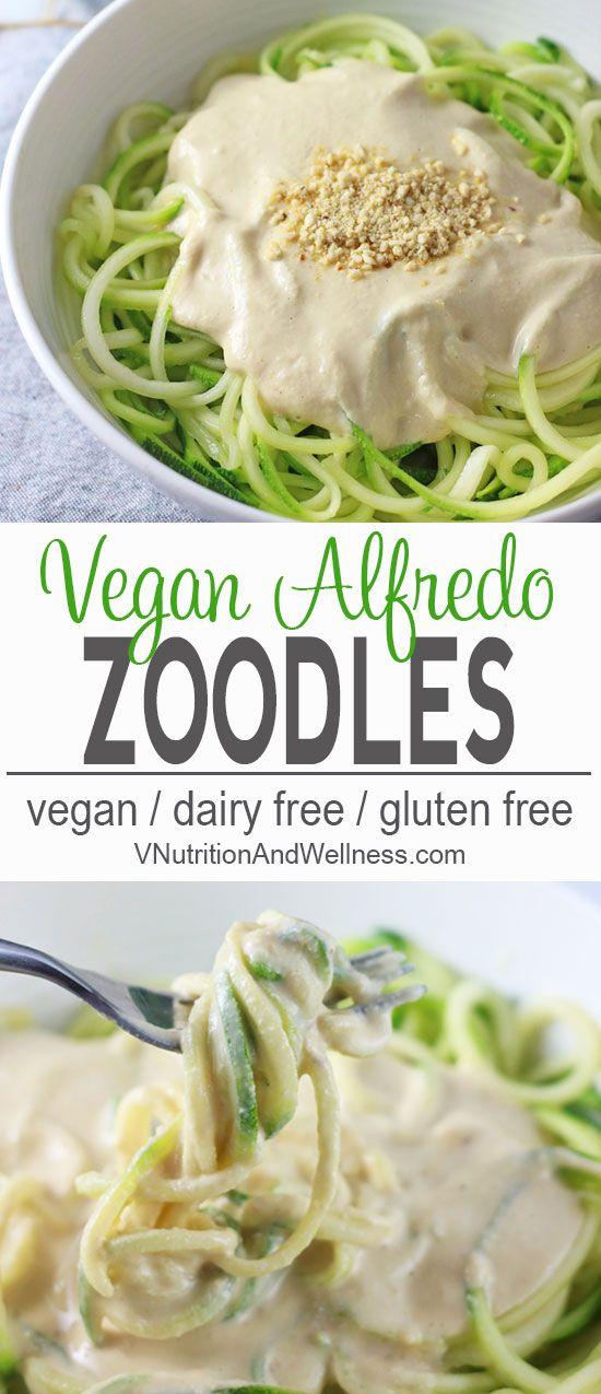 Vegan Zucchini Pasta Alfredo | This Vegan Zucchini Pasta Alfredo is perfect for summer. The zucchini noodles are lighter than pasta but still tasty when you're craving something creamy but don't want the too many carbs. vegan recipe, zucchini noodle recipe, vegetarian, gluten-free, dairy-free   via @VNutritionist