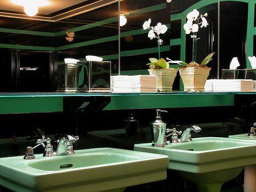 Salvaged mint green bathroom fixtures