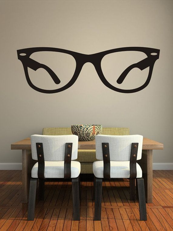 Hipster Wall Decal, Glasses Wall Decal, Hipster Glasses Dorm Decor, Eyewear Wall Decal, Specs Wall Decal, Sunglasses Wall Decal, Unique Wall Art  48 x 15 or 80 x 25  NOTE: Wall decal shown in Black.  Wall Star Graphics are available in a wide array of categories such as Organics, Botanical, Urban, Asian, Geometric, Mid Century Modern, Music, Silhouettes, Tattoos and Animals.  Our premium cut matte vinyl graphics are available in a variety of colors.  All items are made to order and are…