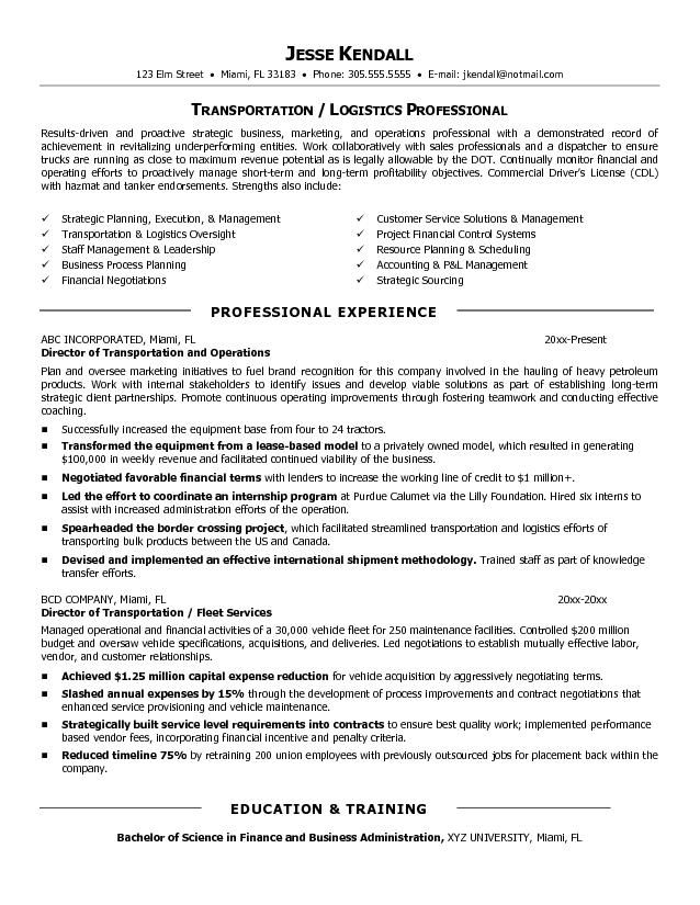 Example Director of Transportation Resume  Free Sample  Resume and Cover Letter  Resume