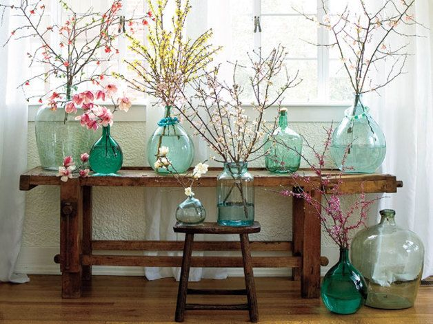 Vintage Vasen - Weinflasche, Glasflasche, Glasballon, Glasvase - ein Designerstück von Siripiri bei DaWanda