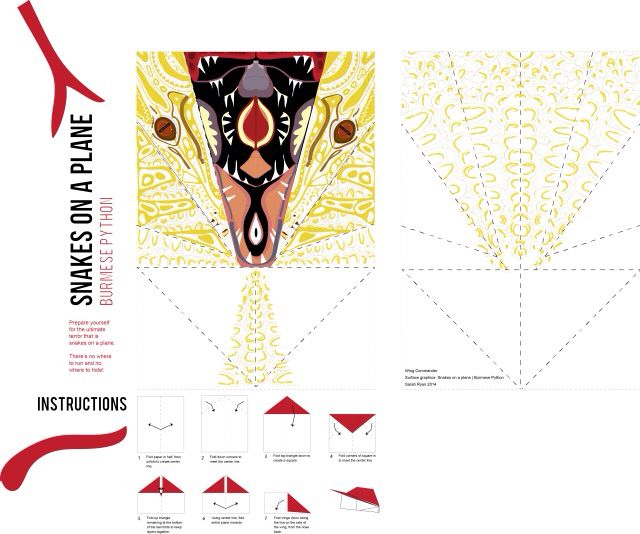 Paper plane design and instructions made on illustrator. The plane looks like a snake's head when folded and the Middle fold reveals the inside of the snake's mouth!