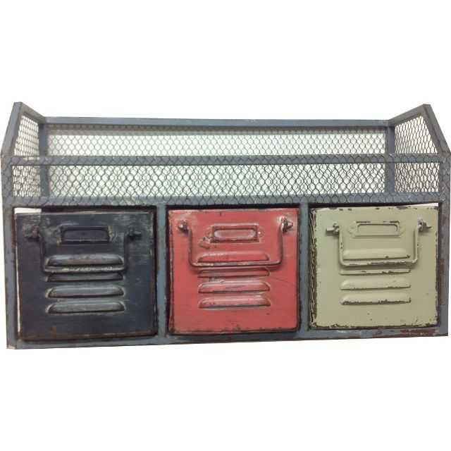 Earth de Fleur Homewares - Industrial Metal Drawers with Mesh Decorative Organisational Tidy