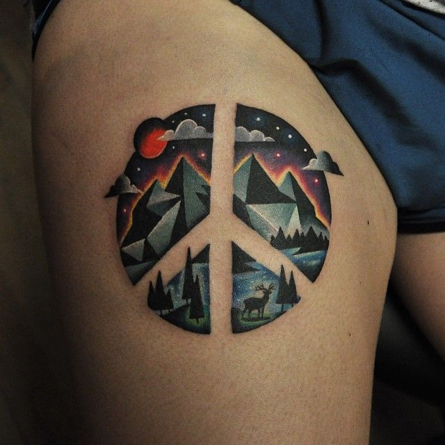 Peace Sign Tattoo http://www.pairodicetattoos.com/peace-sign-tattoo/