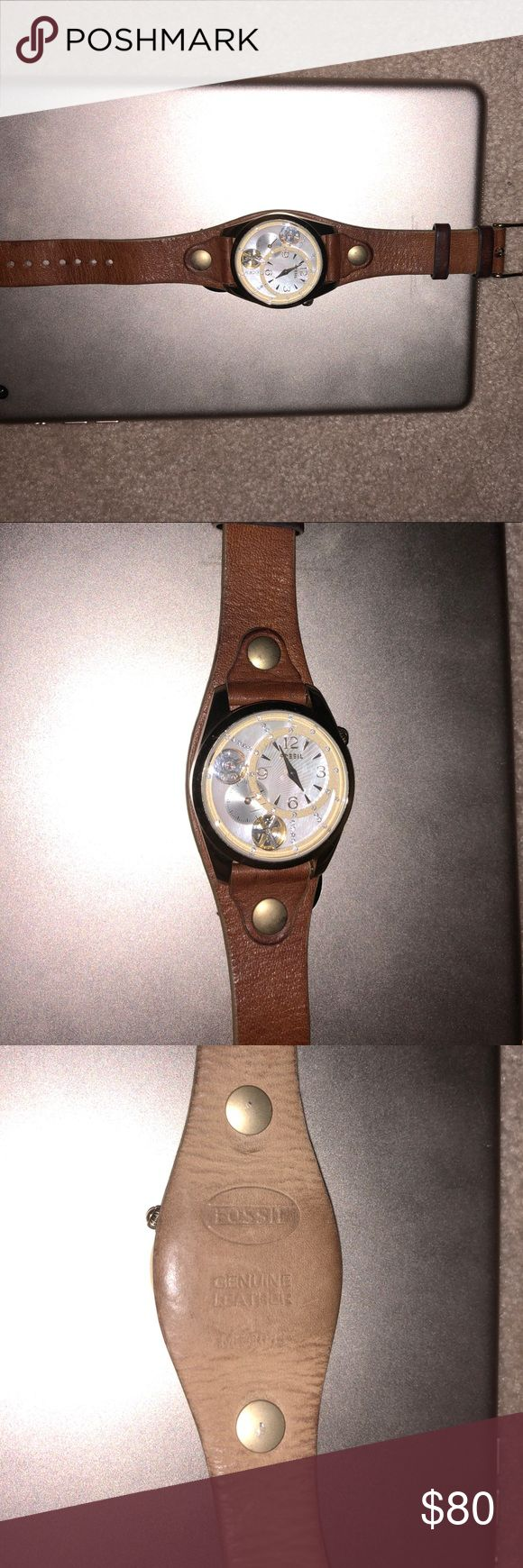 Fossil Automatic Quartz watch with pearl face Authentic mechanical twist watch (runs on motion). Pearl face, quartz stones, gold tone and tan leather. Some discoloration but otherwise looks great. Fossil Accessories Watches