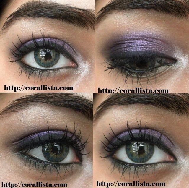 Tutorial : Kareena Kapoor Lakme Absolute Monochrome inspired Purple-Green eye makeup