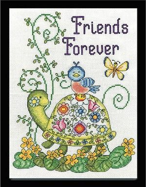 Friends Forever Counted Cross Stitch Kit  #crossstitch #friends #turtle #bird #butterfly #needlework