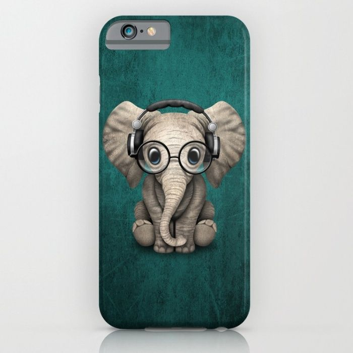 Free Worldwide Shipping Today! Cute Baby Elephant Dj Wearing Headphones and Glasses on Blue iPhone & Samsung Galaxy Case by Jeff Bartels | Society6