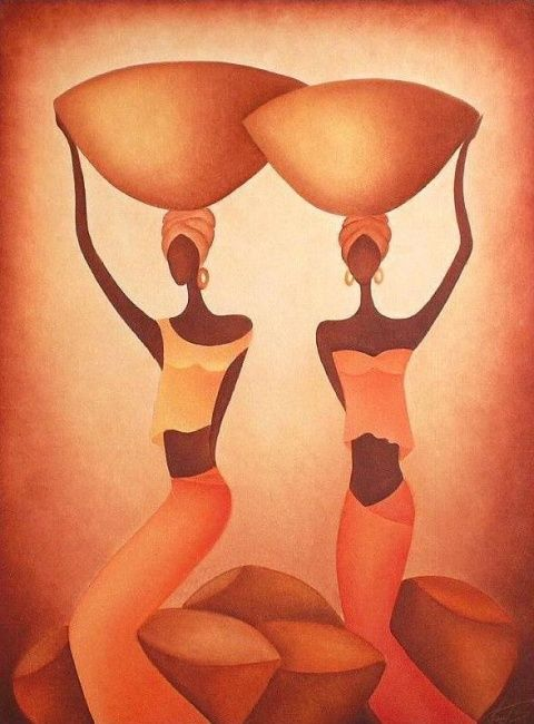 AFRICANA (Painting),  60x80 cm by Anita Burnaz Oil on canvas