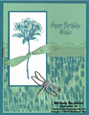 """Handmade birthday card using Stampin' Up! products - Avant Garden Photopolymer Stamp Set, Delicate Details Photopolymer Stamp Set, Blooms & Bliss Designer Series Paper, 3/8"""" Sheer Linen Ribbon, Silver Foil Sheets, and Detailed Dragonfly Thinlits.  Step-by-step directions on my blog.  By Michele Reynolds, Inspiration Ink."""