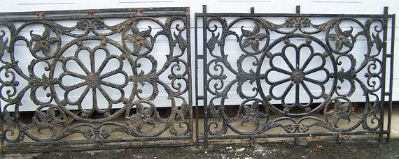 Antique Ornate Iron Panels Pair Art Nouveau Iron Panels Victorian