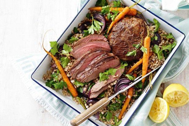 Roast lamb, barley and vegetable salad