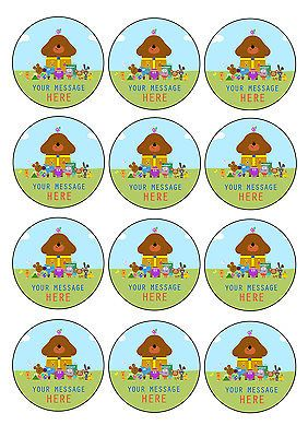 HEY DUGGEE personalised CUPCAKE TOPPERS 12 x 6cm A4 ICING SHEET