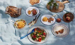 Pickled ham, grilled peaches and nasturtium salad and seeded crackers with pimento cheese dip | Brad Woodward, via The Guardian
