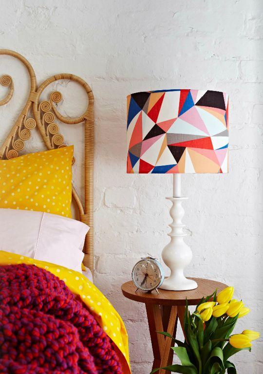 Happy Lamps by Retro Print Revival. Yellow & fuschia decor with multicolor lamp.